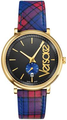 Versace V Circle Stainless Steel Tartan-Print Leather-Strap Watch