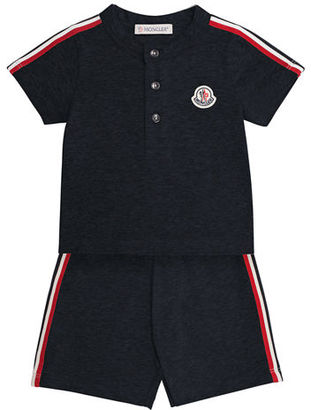 Moncler Short-Sleeve Henley Jersey Tee w/ Shorts, Size 12M-3 $120 thestylecure.com