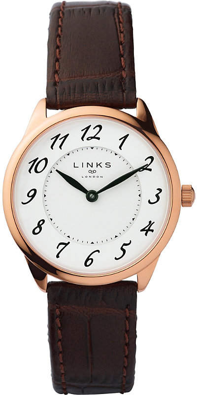 6010.2166 Narrative rose gold-plated stainless steel and leather watch