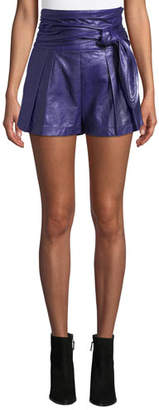 IRO Joe High-Wait Lamb Leather Shorts
