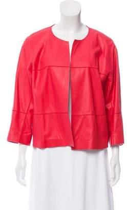 Lafayette 148 Leather Open Jacket