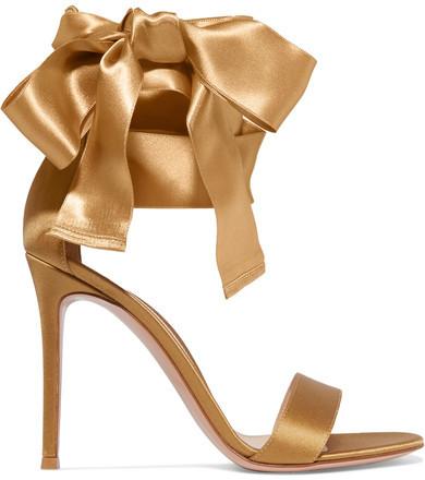 Gianvito Rossi - Satin Sandals - Gold