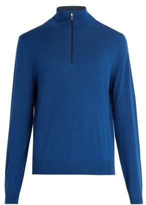 Paul Smith Half Zip Wool Sweater - Mens - Blue