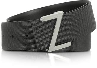 Ermenegildo Zegna Black Embossed Leather Adjustable Belt