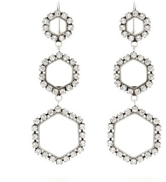 Isabel Marant Crystal Embellished Hexagon Drop Earrings - Womens - Silver