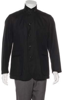 Alexander McQueen Deconstructed Leather-Trimmed Jacket