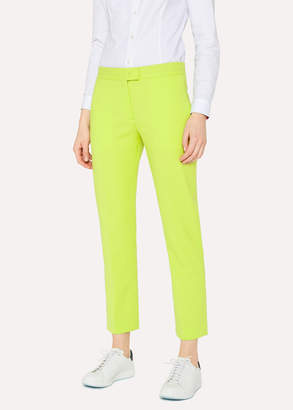 Paul Smith Women's Slim-Fit Lime Green Wool-Hopsack Pants