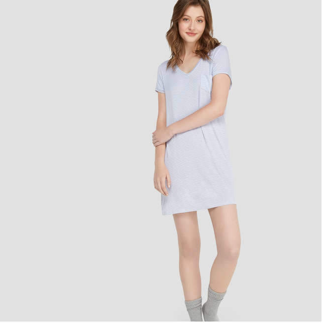 Women's Short Sleeve V-Neck Chemise