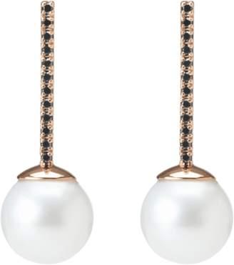 Aurate Proud Pearl Earrings with Black Diamonds