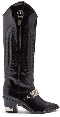 Toga Buckle-strap knee-high leather boots