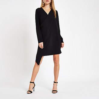 River Island Womens Black wrap front swing dress
