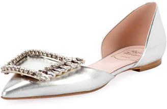 Roger Vivier Wings Buckle Metallic Ballet Flats, Silver