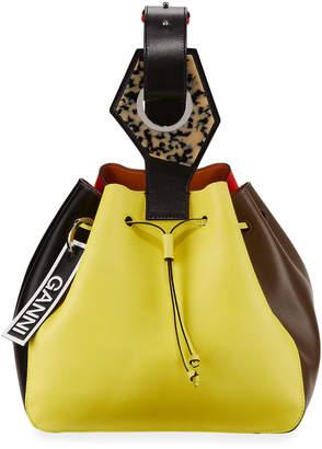 Ganni Colorblock Cinch Bucket Bag