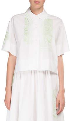 Acne Studios Livi Pop-Floral Button-Front Crop Cotton Blouse