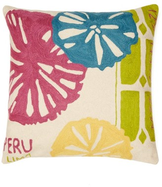 Kilometre Paris - Mate Lima Peru Embroidered Cotton Cushion - Multi