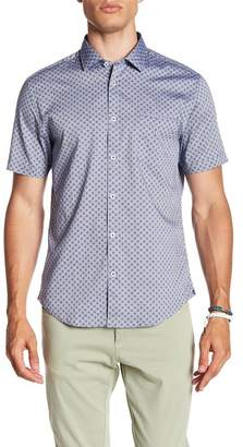 Good Man Brand Short Sleeve Micro Floral Print Trim Fit Shirt