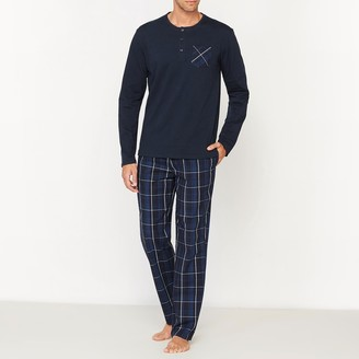 La Redoute Collections Long-Sleeved Pyjamas with Checked Trousers