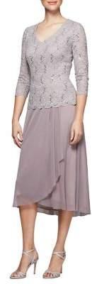 Alex Evenings Plus Sequined Tea-Length Dress