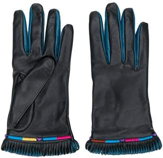 Etro fringed contrast gloves