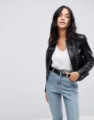 Asos DESIGN Leather Zip Through Studded Western Jacket
