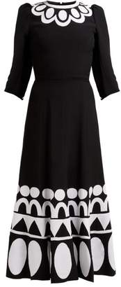 Andrew Gn Geometric Floral Applique Jersey Midi Dress - Womens - Black White