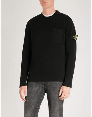 Stone Island Logo patch-embroidered wool jumper