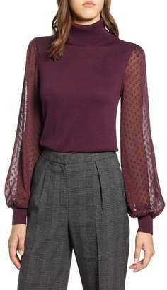 Halogen Sheer Sleeve Turtleneck Sweater