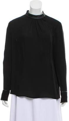 Theory Leather Trim Long Sleeve