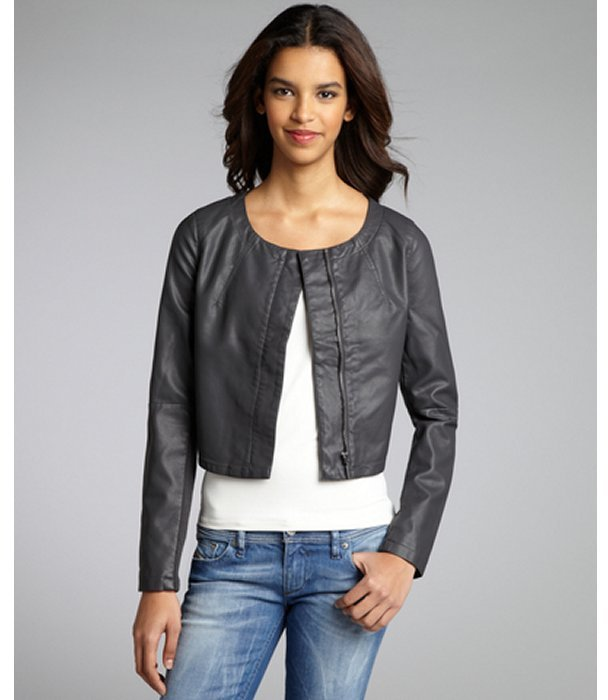 Romeo & Juliet Couture charcoal faux leather and ribbed knit scoop neck jacket