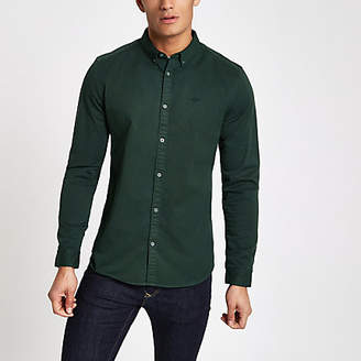 River Island Dark green stretch long sleeve shirt