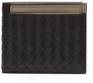 Bottega Veneta Contrast Panel Intrecciato Bi Fold Wallet - Mens - Black Grey