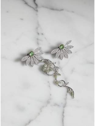 Burberry Crystal Half-daisy Drop Earring and Stud Set, Green