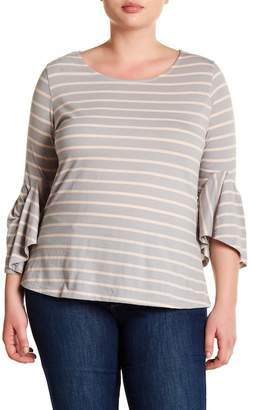 Susina Stripe Angel Sleeve Tee (Plus Size)