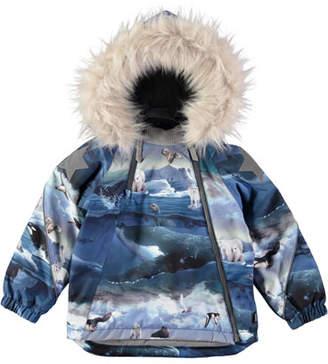 Molo Hopla Arctic Landscape-Print Jacket, Size 12M-4