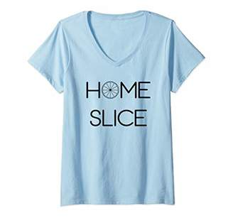 Womens Home Slice Orange Tropical Fruit Gift V-Neck T-Shirt