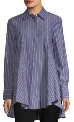 Donna Karan Paneled Stripe Button-Down Blouse