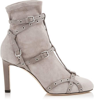 Jimmy Choo BRIANNA 85 Black Stretch Suede Booties with Black Leather Harness