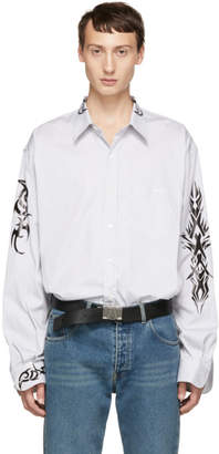 Vetements Black and White Pinstriped Tattoo Shirt