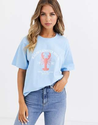 Daisy Street relaxed t-shirt with lobster print
