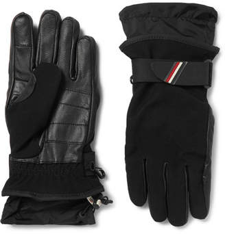 Moncler Shell-Trimmed Fleece And Leather Ski Gloves