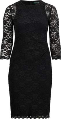 Ralph Lauren Sheer-Sleeve Lace Dress