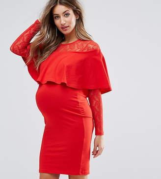 Asos Nursing Nursing Ruffle Front Lace Mix Bodycon Mini Dress