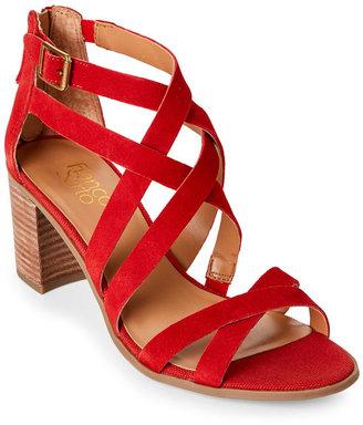 franco sarto Paprika Red Hachi Block Heel Sandals $99 thestylecure.com