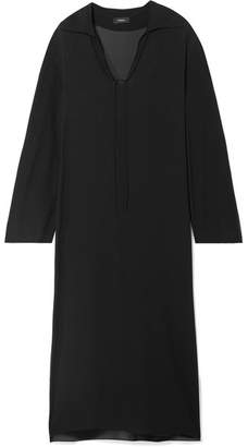 Theory Sailor Oversized Silk Crepe De Chine Maxi Dress - Black
