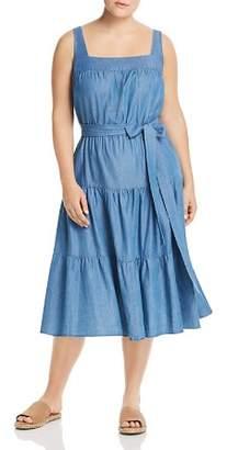 MICHAEL Michael Kors Chambray Tiered Midi Dress