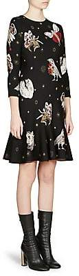 Alexander McQueen Women's Printed Trumpet-Hem Dress
