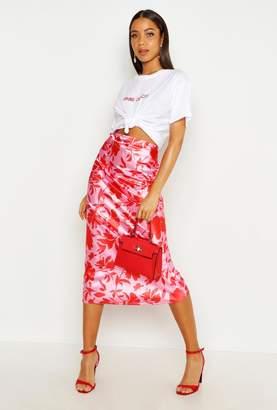 boohoo Vibrant Floral Satin Midaxi Skirt