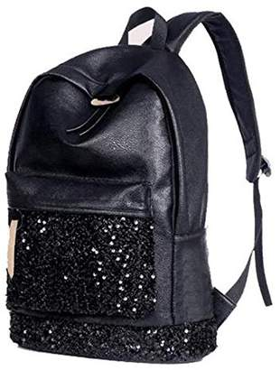 SODIAL(R) Fashion Women Backpack Big Crown Embroidered Sequins Backpack Women Leather Backpack School Bags