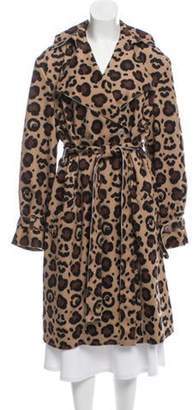Julian Zigerli Animal Print Trench Coat w/ Tags Tan Julian Zigerli Animal Print Trench Coat w/ Tags