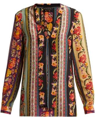 Etro Striped Silk Blouse - Womens - Pink Multi